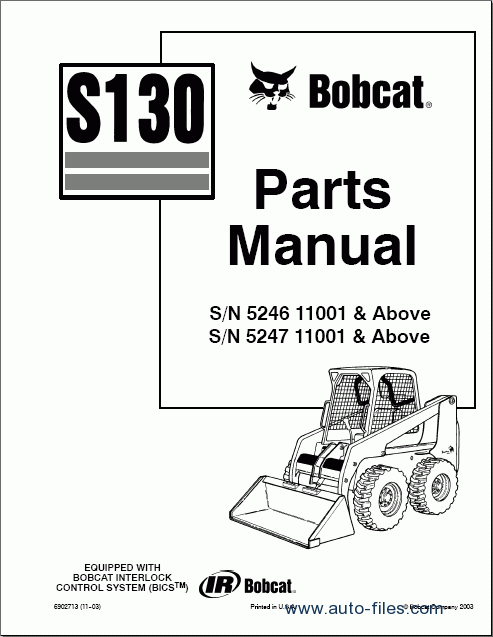 Bobcat S130  Spare Parts Catalog  Repair Manual Download