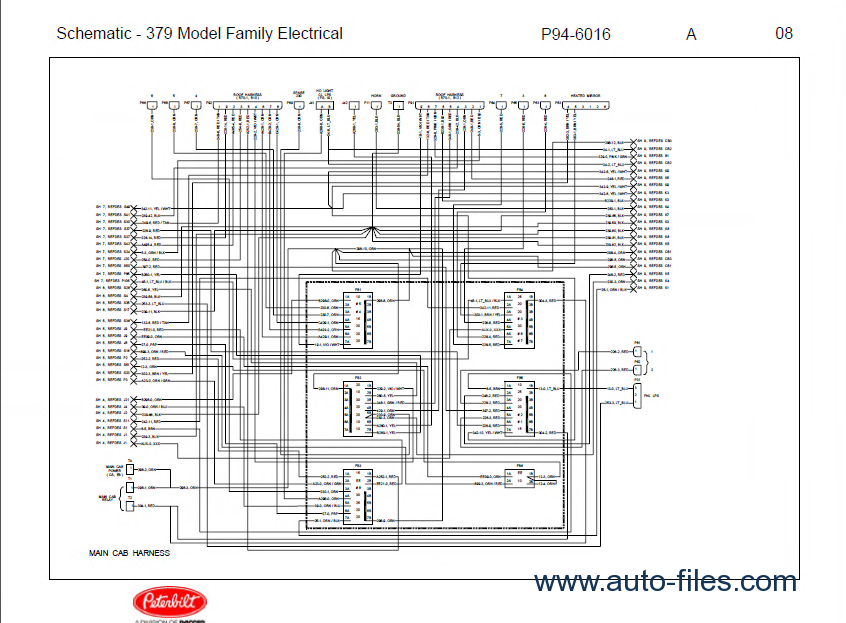 peterbilt truck 379 model family electrical schematic manual