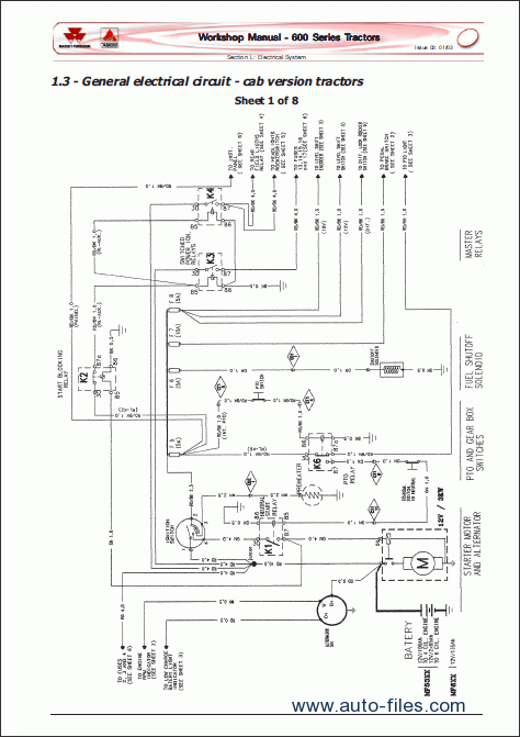 massey ferguson tractors 600 series repair manuals wiring diagram electronic parts