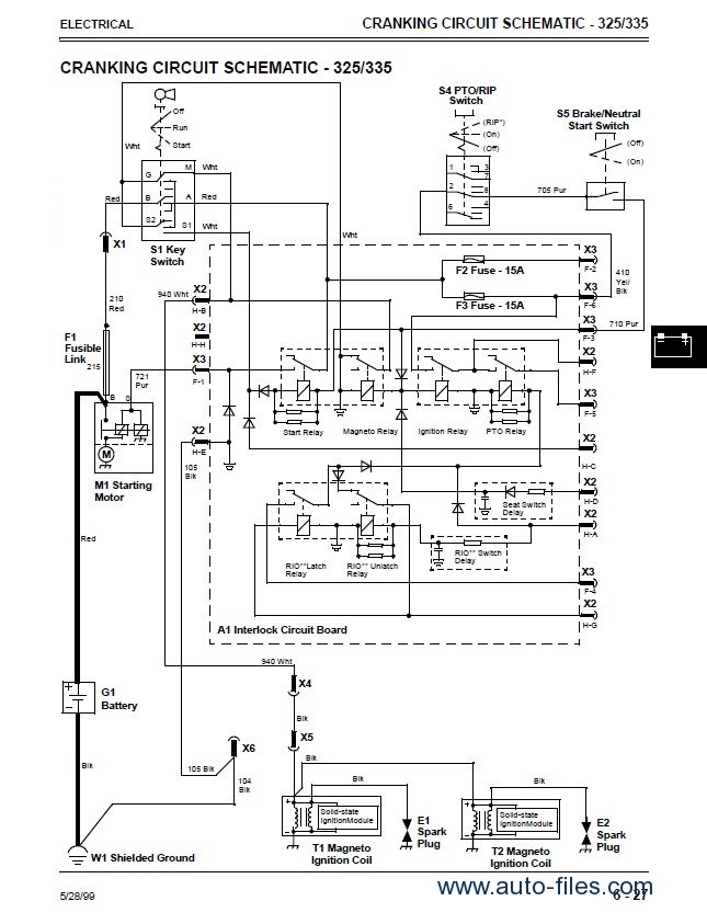 john deere 325 345 lawn garden tractors technical manual tm1574 pdf john deere wiring diagram john deere wiring diagram for l110a  at reclaimingppi.co