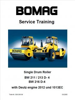 repair manuals Bomag BW 211 / 213 D-4, BW 216 D-4 Single Drum Roller Service Training PDF