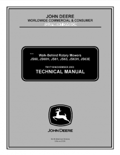 repair manuals John Deere JS60 JS60H JS61 JS63 JS63H JS63E Walk-Behind Rotary Mowers Technical Manual TM1710 PDF
