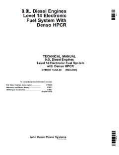 repair manuals John Deere 9.0L Diesel Engines Level 14 Electronic Fuel System CTM385 PDF