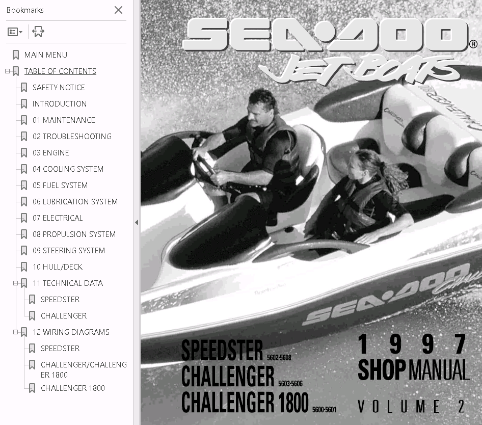 Sea Doo Jet Boat Challenger 1800 Full Service Repair Manual 1997