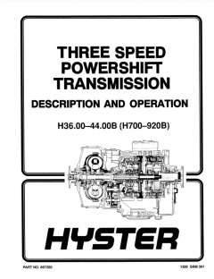 repair manuals Hyster Challenger H36.00C H40.00C H44.00C H48.00CH H800C H880C H970C H1050CH Forklift PDF Manual
