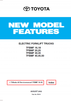 repair manuals Toyota Electric Forklift Trucks 7FBMF16-50 Service Manual PDF