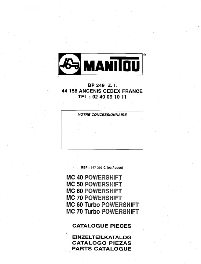Manitou Forklift Service   Repair   Parts Manuals