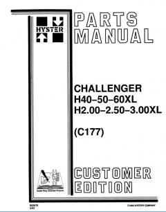 spare parts catalog, repair manual Hyster Challenger H40XL, H50XL, H60XL, H2.00XL, H2.50XL, H3.00XL Forklifts Service Parts Manuals PDF