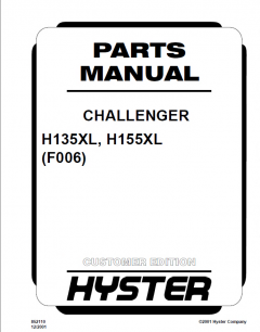 spare parts catalog, repair manual Hyster Challenger H135XL H155XL H165XL H280XL H8.00XL H12.00XL Forklift(F006) Service + Parts Manual