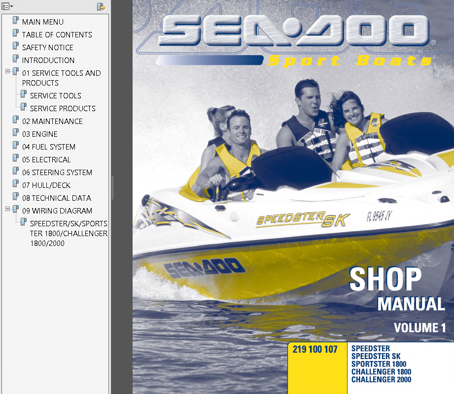 Sea Doo Sport Boats Challenger  U0026 Speedster  U0026 Sportster 2000 Technical Publications