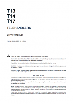 repair manuals Fiat Kobelco T13, T14, T17 Telehandlers Service Manual PDF