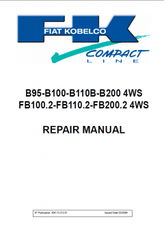 repair manuals Fiat Kobelco B95-B100-B110B-B200 4WS FB100.2-FB110.2-FB200.2 4WS Repair Manual PDF