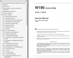repair manuals Fiat Kobelco W190 Evolution Wheel Loader Service Manual PDF