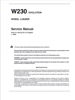 repair manuals Fiat Kobelco W230 Evolution Wheel Loader Service Manual PDF