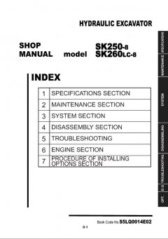 repair manuals Kobelco SK250-8 / SK260LC-8 Hydraulic Excavator Shop Manual PDF