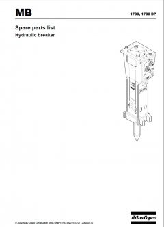 spare parts catalog, repair manual Atlas Copco MB1700 & MB1700DP Hydraulic Breakers Repair Manual & Parts List PDF