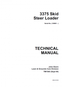 repair manuals John Deere 3375 Skid Steer Loader Technical Manual TM1565 PDF