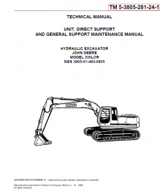 repair manuals John Deere 330 LCR Hydraulic Excavator Technical Manual PDF
