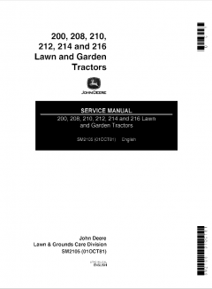 repair manuals John Deere 200 208 210 212 214 216 Lawn Garden Tractors Service Manual SM2105 PDF