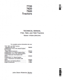 repair manuals John Deere 7720, 7820, 7920 Tractor Repair TM2080 PDF