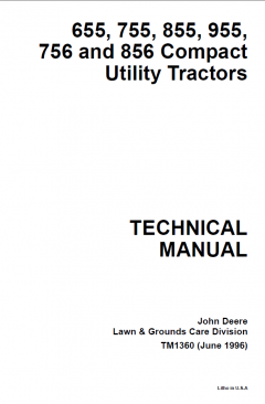 repair manuals John Deere 655, 755, 855, 955, 756, 856 Compact Utility Tractors Technical Manual TM1360 PDF