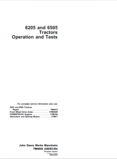 repair manuals John Deere 6205 & 6505 Tractors Repair & Operation and Tests Manuals