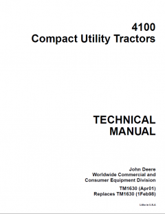 repair manuals John Deere 4100 Tractor Compact Utility Technical Manual TM1630 PDF