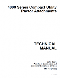repair manuals John Deere 4000 Series Compact Utility Tractor Attachments Technical Manual TM-1763