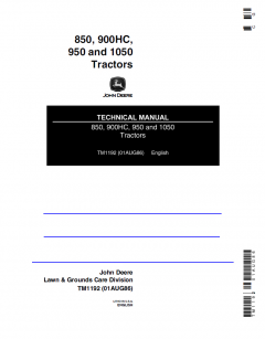 repair manuals John Deere 850, 900HC, 950, 1050 Tractors Technical Manual TM1192 PDF