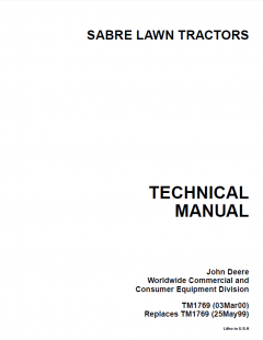 repair manuals John Deere Sabre Lawn Garden Tractor TM1769 Technical Manual PDF