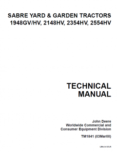 repair manuals John Deere 1948GV/HV 2148HV 2354HV 2554HV Sabre Yard Garden Tractors TM1841 Technical Manual PDF