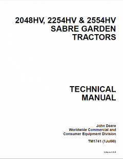 repair manuals John Deere 2048HV 2254HV 2554HV Sabre Garden Tractors Technical Manual TM1741 PDF