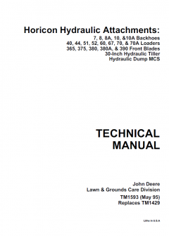 repair manuals John Deere Horicon Hydraulic Attachments Technical Manual TM-1429