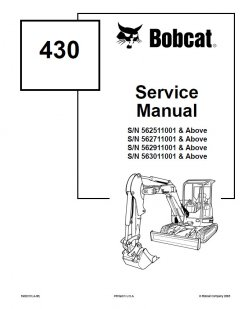 repair manuals Bobcat 430 Excavators Service Manual PDF