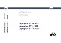 repair manuals Deutz Agroplus 67 -> 5000, 77 -> 5000, 87-> 5000 Workshop Standard Times PDF Manual