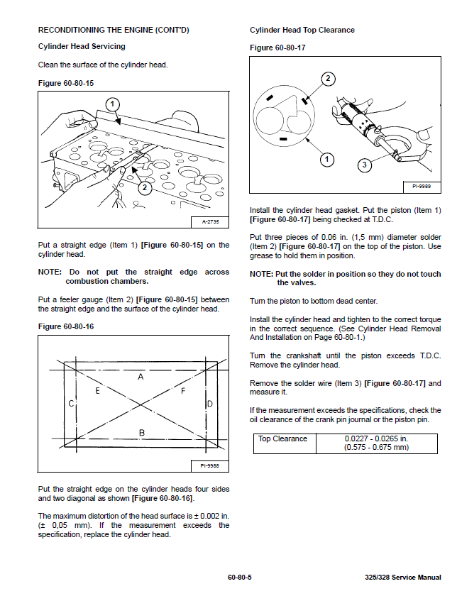 Bobcat 325 and 328 Compact Excavator Service Manual PDF