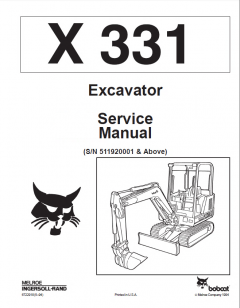 repair manuals Bobcat X 331 Excavator Service Manual PDF