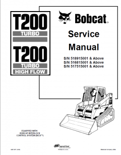 repair manuals Bobcat T200 Turbo & T200 Turbo HF Compact Track Loader Service Manual PDF