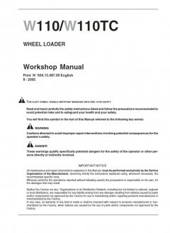 repair manuals New Holland W110 / W110TC Wheel Loader Workshop Manual PDF