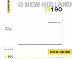 repair manuals New Holland W190 Wheel Loader Workshop Manual PDF