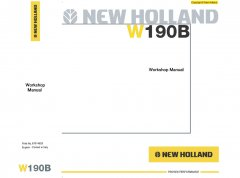 repair manuals New Holland W190B Wheel Loader Workshop Manual PDF