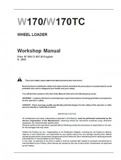 repair manuals New Holland W170 / W170TC Wheel Loader Workshop Manual PDF