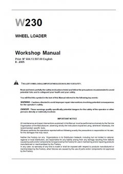 repair manuals New Holland W230 Wheel Loader Workshop Manual PDF
