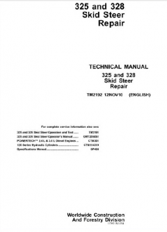 repair manuals John Deere 325 / 328 Skid Steer Loader Service Manual TM2192 PDF