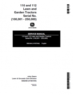repair manuals John Deere 110 & 112 Lawn Garden Tractors Service Manual SM2088 PDF