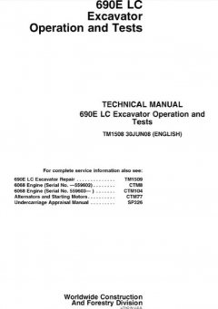 repair manuals John Deere 690E LC Excavator Operation & Tests TM1508 Technical Manual PDF