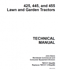 repair manuals John Deere 425 445 455 Lawn & Garden Tractors Technical Manual PDF TM1517
