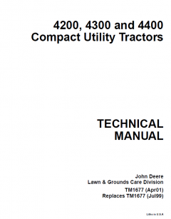 repair manuals John Deere 4200 4300 4400 Compact Utility Tractor Technical Manual TM1677 PDF