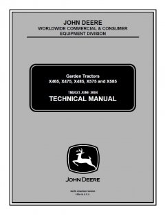 repair manuals John Deere X465 X475 X485 X575 X585 Lawn Garden Tractor Technical Manual TM2023 PDF
