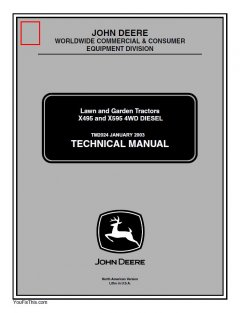 repair manuals John Deere X495 X595 Garden Tractors Technical Manual TM2024 PDF